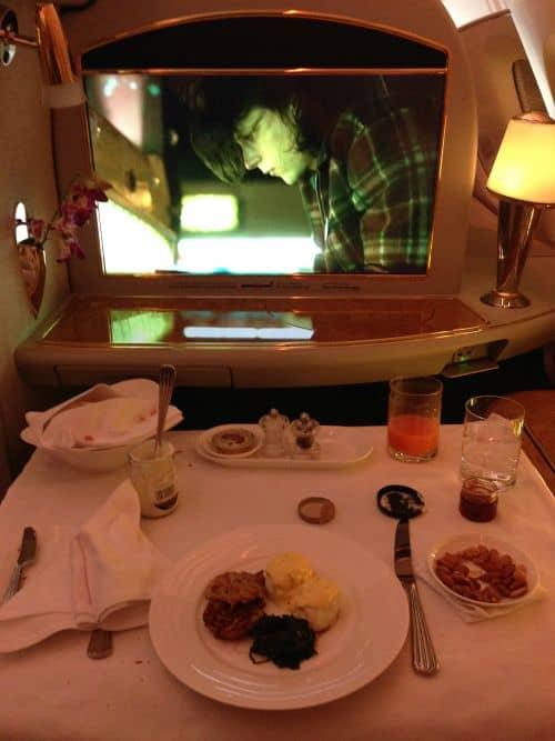Emirates Fist Class A380 food