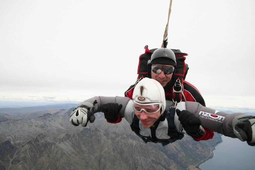 Sky diving in Queenstown, New Zealand