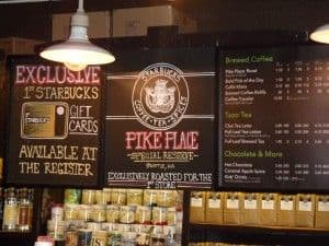 inside the original starbucks in Seattle