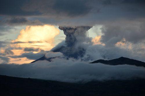 Volcano erupting in Ecuador