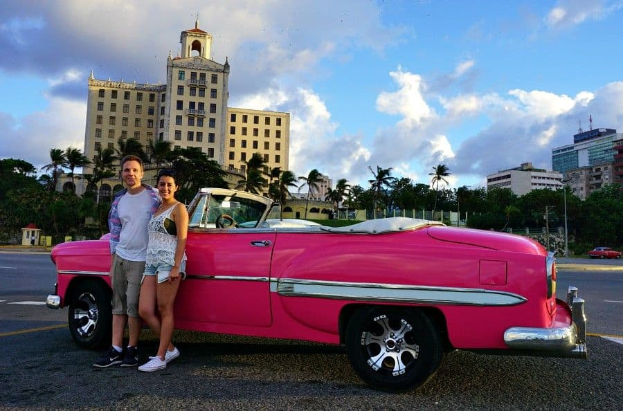 Driving a classic car in cuba