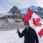 Standing on the Columbia Icefields in Alberta, Canada
